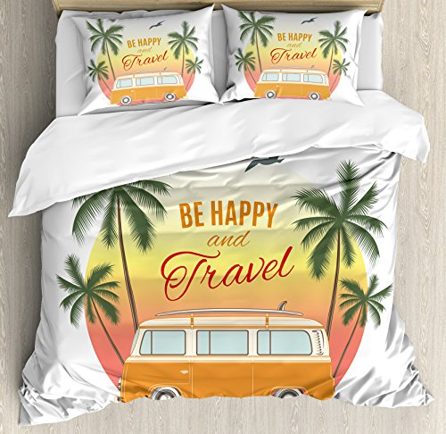 - Ambesonne Surf Decor Duvet Cover Set, Retro Surf Van with Palms Camping Relax Hippie Travel Be Happy Free Sixties Vintage Theme, 3 Piece Bedding Set with Pillow Shams, Queen/Full, Orange Green Yellow