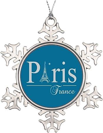 VinMea Decoración de Rama de árbol, Bolas de Navidad de París y Francia, Adornos de Copos de Nieve