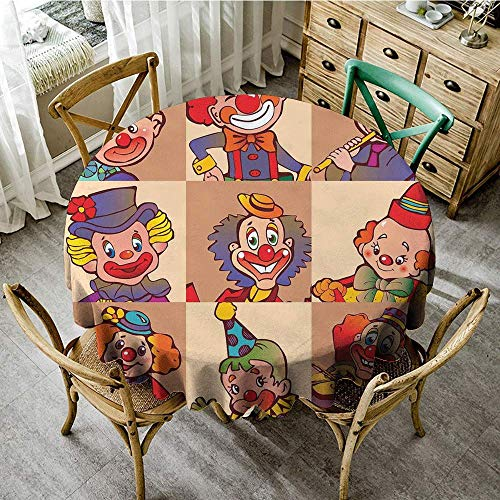 DONEECKL Polyester Tablecloth Circus Decor Funny Clowns Illustration Entertaining Childhood Artistic Joke Enjoyment Excellent Durability D51]()