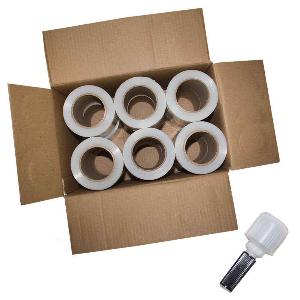 Case Set 12 Rolls 5'' x 1000' Clear Stretch Film Shrink Wrap 80 Gauge w/ 1 Handle for Office Warehouse Shipping Storage Retail Home