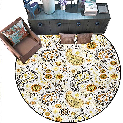 - Sunflower Round Area Rug Carpet Ethnic Tribal Floral Pattern Sunflowers Paisley Vintage Boho Anti-Skid Area Rug (55