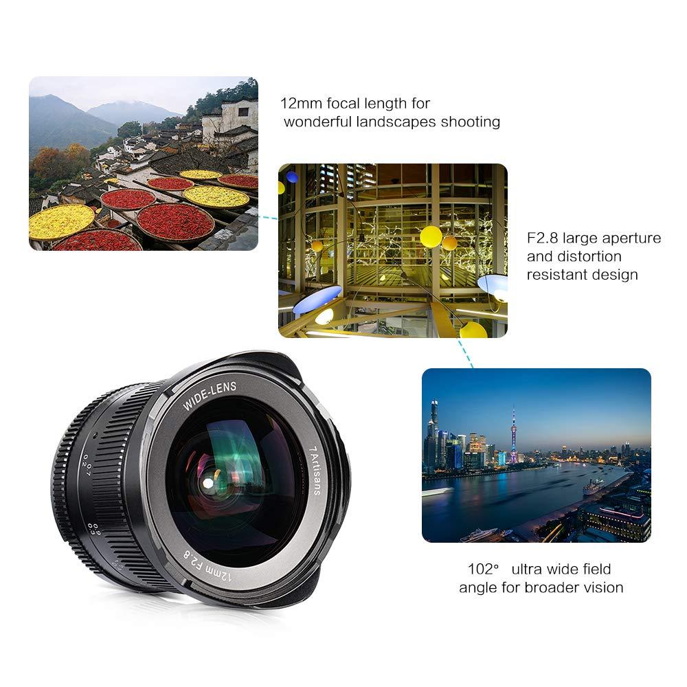 A7 II Leslaur 7artisans 12mm f A7R II A6300 A7 III A6500 2.8 Ultra Gran Angular Lente de Enfoque Manual Gran Apertura para Sony A7 A7R III E-Mount
