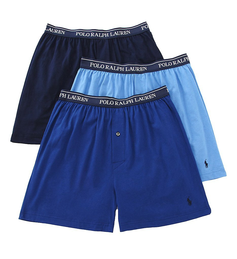 Classic Cotton Knit Boxer 3-Pack Large Assorted Blue by Polo Ralph Lauren