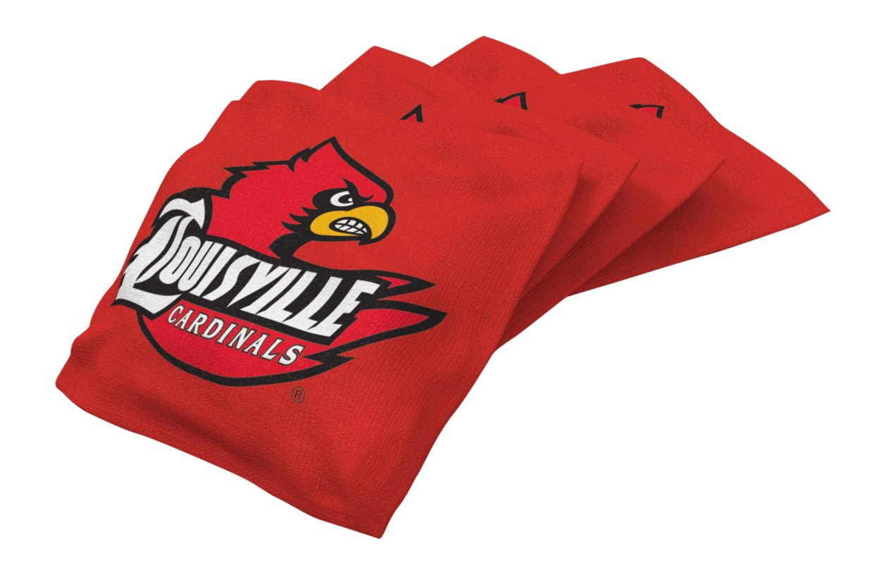 Wild Sports NCAA College Louisville Cardinals Red Authentic Cornhole Bean Bag Set (4 Pack)