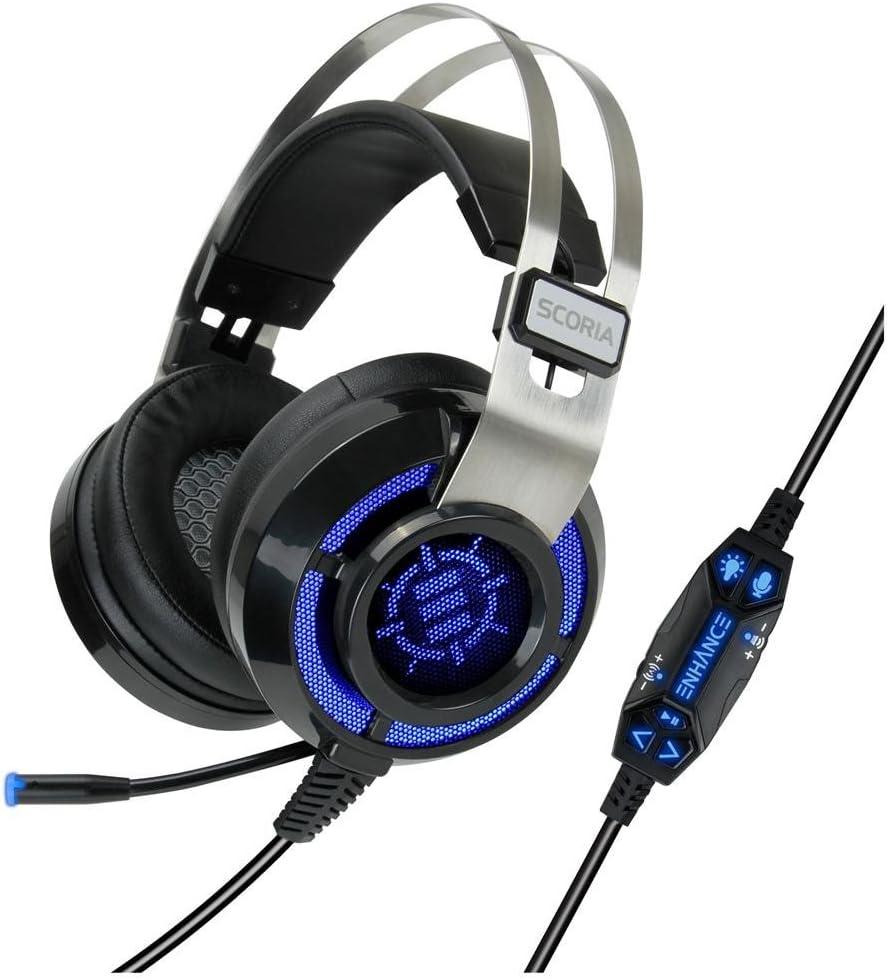 ENHANCE Cascos Gaming Scoria Headset USB/Auriculares Gaming Surround Sound 7.1 con Vibración y Microfono Extraible ¡ Escucha a Tus Enemigos Antes de Que Sea Demasiado Tarde !