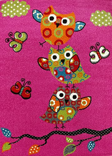 Flowers Little 5 (KC CUBS Boy and Girl Bedroom Modern Decor Area Rug and Carpet Collection For Kids and Children Pink Owl and Butterfly (3' 11