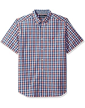 Men's Short Sleeve Plaid Button Down Shirt,