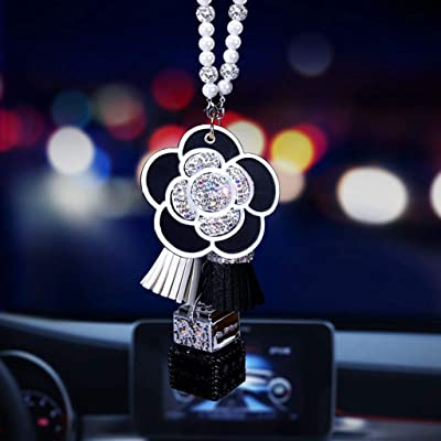 BabYoung Diamond Bling Crystal Car Pendant Rear View Mirror Ornament Accessories Camellia Perfume Hanging Decor for Car or Home (Black): Automotive