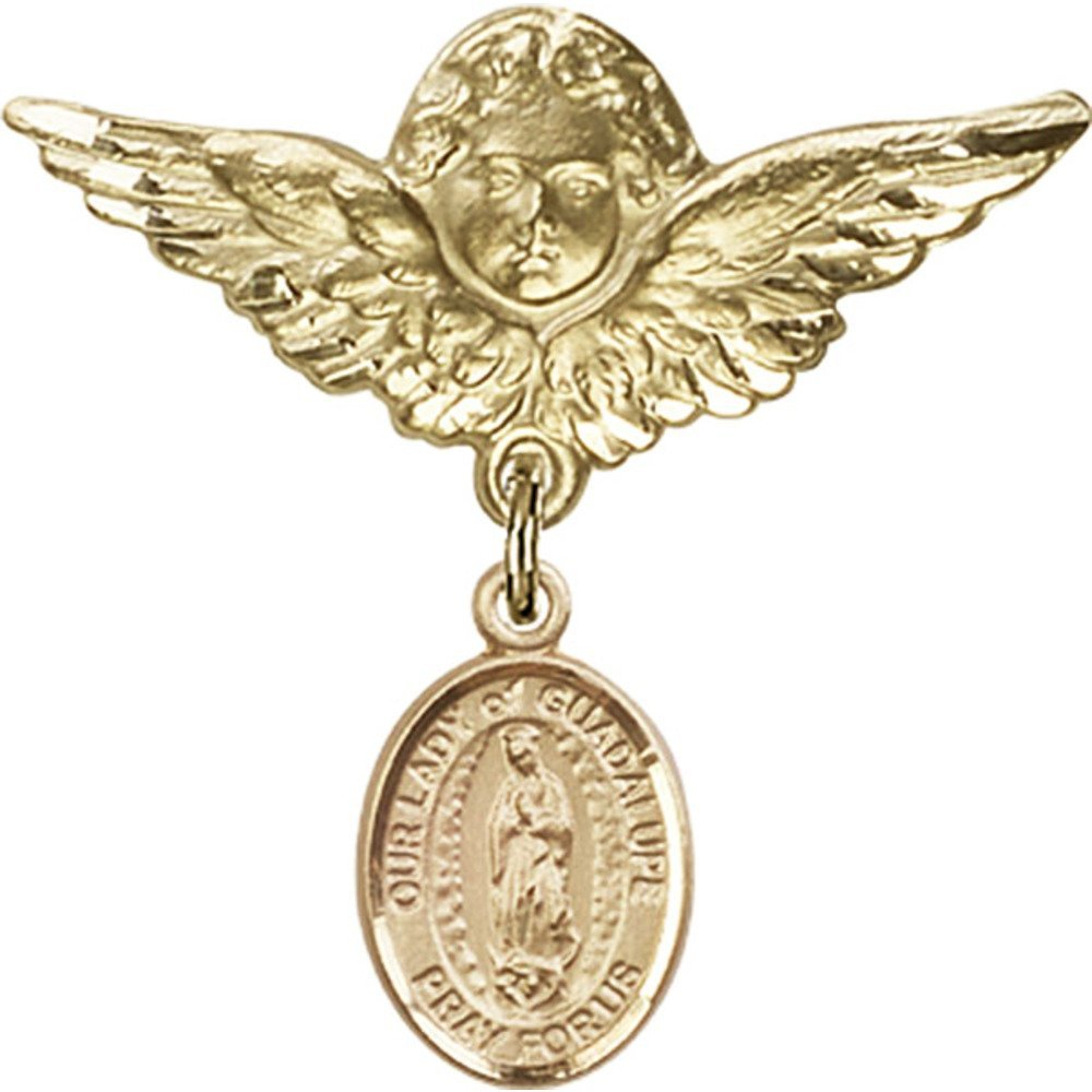 14kt Yellow Gold Baby Badge with Our Lady of Guadalupe Charm and Angel w/Wings Badge Pin 1 1/8 X 1 1/8 inches by Bonyak Jewelry Saint Medal Collection