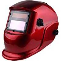 Z ZTDM Welding Helmet Pro Solar Auto Darkening Transparent Red Hood Adjustable Shade Range 4/9-13 Weld/Grinding Welder Protective Gear Arc Mig Tig CE EN379 ANSI Z87.1