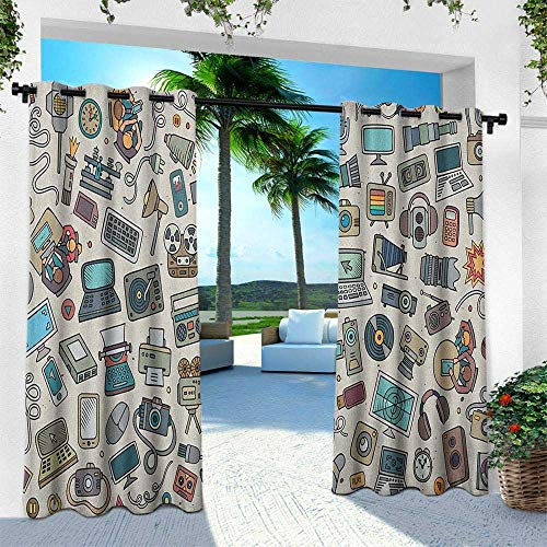 Doodle, Outdoor Curtain Pair, Complation of Various Office Gadgets Recorder Tv Laptop Monitor Tablet Switch Mouse, Fabric by The Yard W84 x L108 Inch Multicolor by Returiy (Image #4)