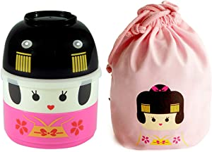 Cute Bento Box for Kids Bento Lunch Box with Lunch Bag Girls 2 Tier Food Container Bowl Snack Box Japanese Geisha Pattern Lunchbox School Lunch Container for Toddler Microwave & Dishwasher Safe,Pink