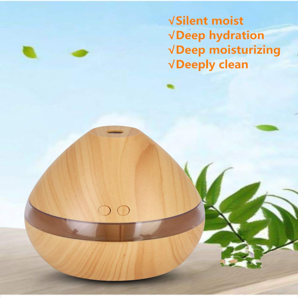 Essential Oil Diffuser, 300ml Wood Grain Aromatherapy Air Diffuser Cool Mist Humidifier with Auto Shut Off for Office Home Bedroom (Light)