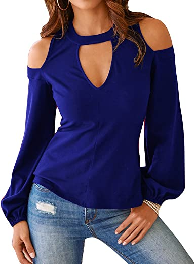Dingcaiyi Camisas Mujer, Blusas para Mujer Moda Tops Camisetas de Manga Larga Blusas de Cuello en V Tops Casuales para Otoño Primavera: Amazon.es: Ropa y accesorios
