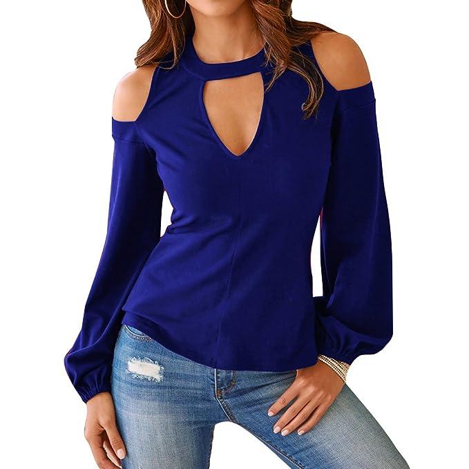 Dingcaiyi Camisas Mujer, Blusas para Mujer Moda Tops Camisetas de Manga Larga Blusas de Cuello en V Tops Casuales para Otoño Primavera: Amazon.es: Ropa y ...
