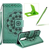 Rope Leather Case for LG K4 2017,Strap Wallet Case for LG K4 2017,Herzzer Bookstyle Classic Elegant Mandala Flower Pattern Stand Magnetic Smart Leather Case with Soft Inner for LG K4 2017 + 1 x Free Green Cellphone Kickstand + 1 x Free Green Stylus Pen - Green