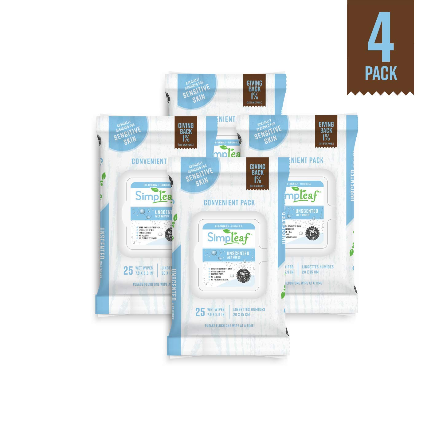 Simpleaf Flushable Wipes (Unscented): Eco- Friendly, Thick and Effective, Paraben and Alcohol Free, Hypoallergenic and Safe for Sensitive Skin, Vitamin E with Soothing Aloe Vera (4 Pack of 25 Counts)
