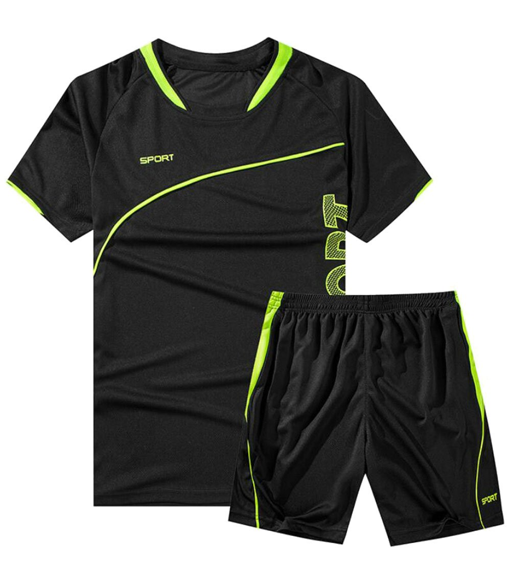 Spirio Men's Sport T-Shirt and Workout Jogger Shorts Tracksuits Two-Piece Sets