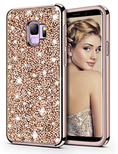 Galaxy S9 Case,HoneyAKE Glitter Bling Diamond Sparkly Handmade Crystal Rhinestone Cover Dual Layer Shockproof Hybrid Hard Bumper Protective Case Cover for Samsung Galaxy S9(Champagne)
