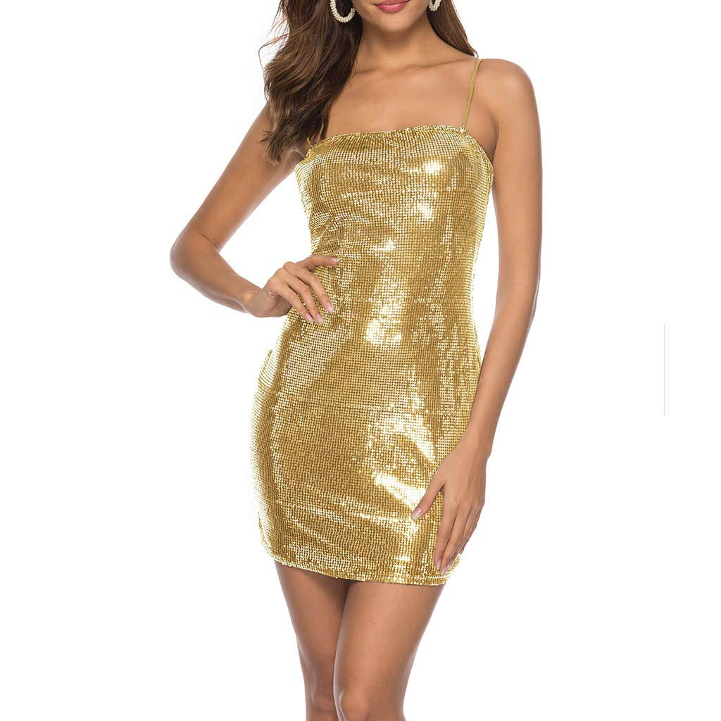 Mini Dress WANQUIY Womens Sequins Sleeveless Cold Shoulder Solid Sling Hip Club Night Out Blingbling Short Dress