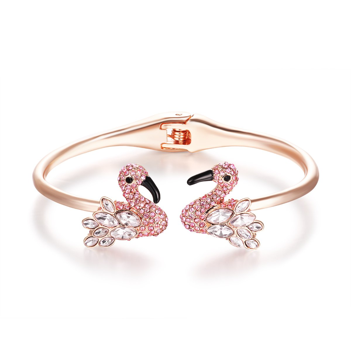 Paitse Jewelry Crystal Inlaid Flamingo Shape Women's Fashion bangle Bracelet (Pink)