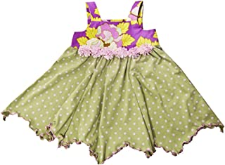 product image for Cheeky Banana Little Girls Handkerchief Dress Green Dots & Lilac