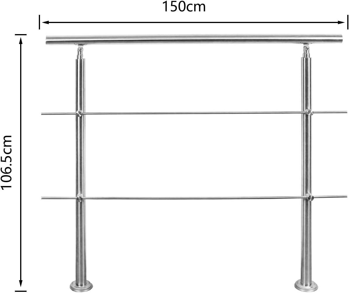 150 cm geb/ürsteter Edelstahl Treppengel/änder mit ohne Querstreben f/ür den Einsatz im Innen und Au/ßenbereich Hengda Handlauf Edelstahl
