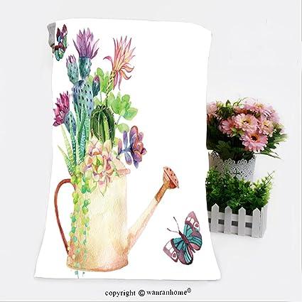 VROSELV algodón Microfibra baño baño Towel-Watercolor Flores regadera y Mariposas Pintada a Mano ilustración