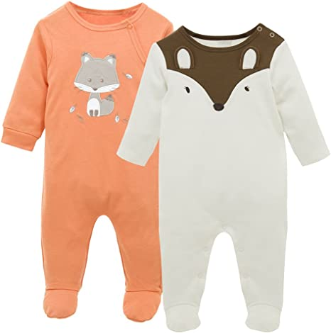 Pijama para Bebé 2 piezas Niños Niñas Pelele Manga Larga Mameluco ...
