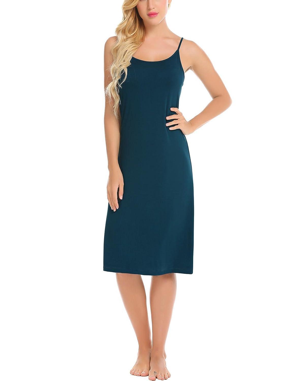 Champlain color Vansop Women Spaghetti Strap Solid Back Criss Crossing Straps Sexy Sleepwear Dress
