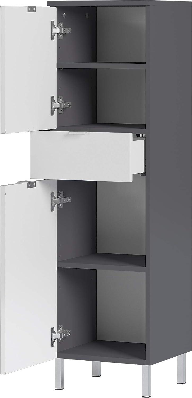 60x97x34 cm zwei Schubk/ästen BxHxT in graphit//grandson-Eiche-Nachbildung Germania Kommode 8531-564 GW-MAURESA