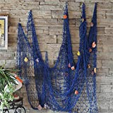 Bestag Modern style Home Decoration Nautical Decorative Fishing Net Seaside Beach Shell Party Door Wall Decoration (2mx1m, Blue)
