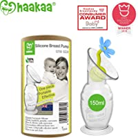 Haakaa Breast Pump Manual Breast Pump Silicone Breastpump with Suction Base and Flower Stopper Combo 100% Food Grade Silicone BPA Free (5.4oz/150ml) (Blue)