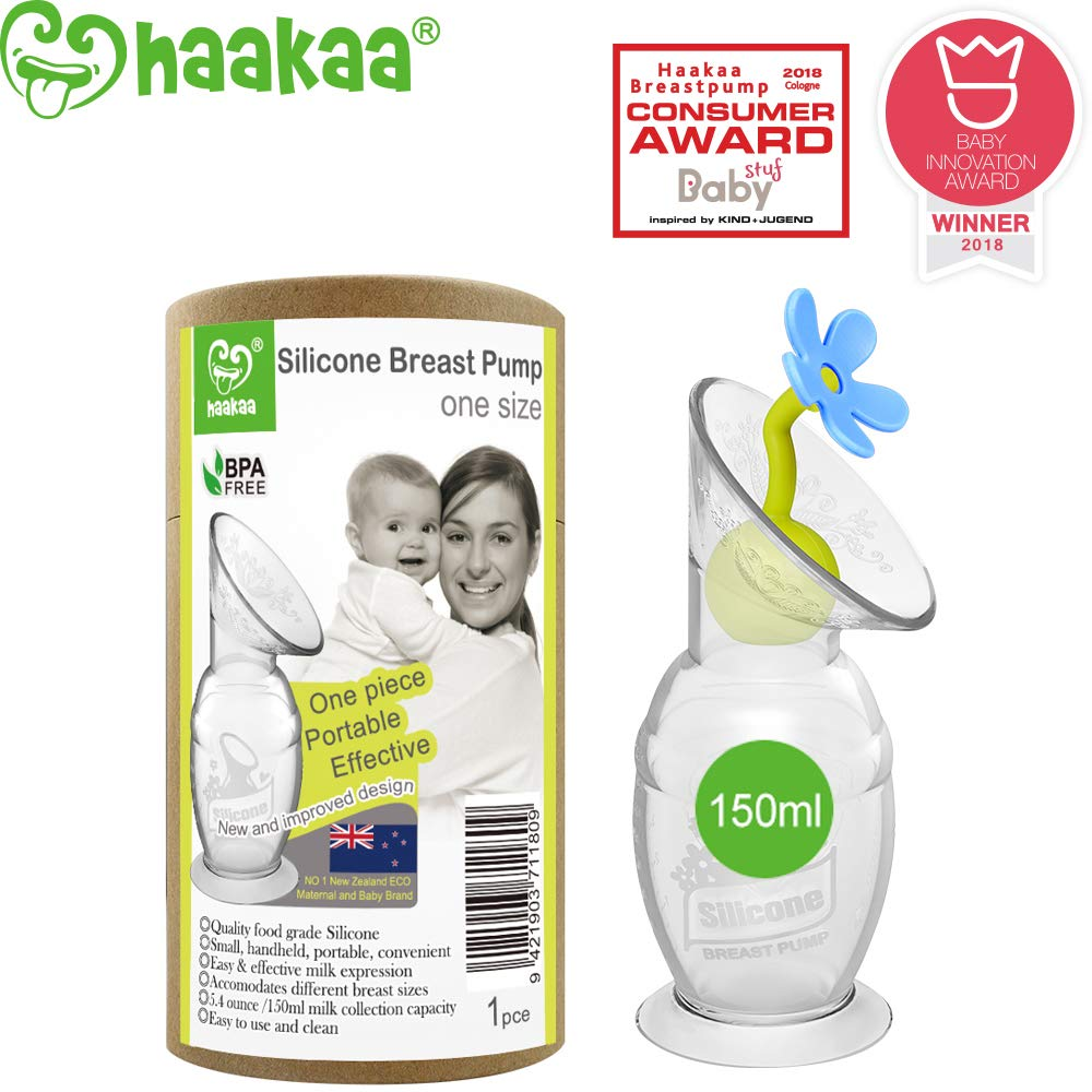 Haakaa Manual Breast Pump Silicone Breastpump Milk Pump Milk Saver with Suction Base and Flower Stopper 100% Food Grade Silicone BPA Free (5oz/150ml) (Blue)