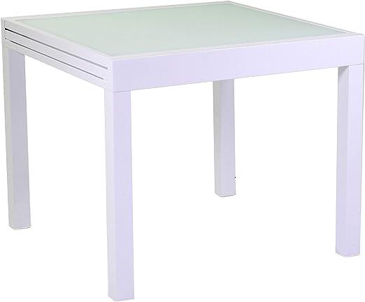 adami - Mesa Cuadrada Extensible de jardín, 90 x 90 cm, de Aluminio, Color Blanco: Amazon.es: Hogar