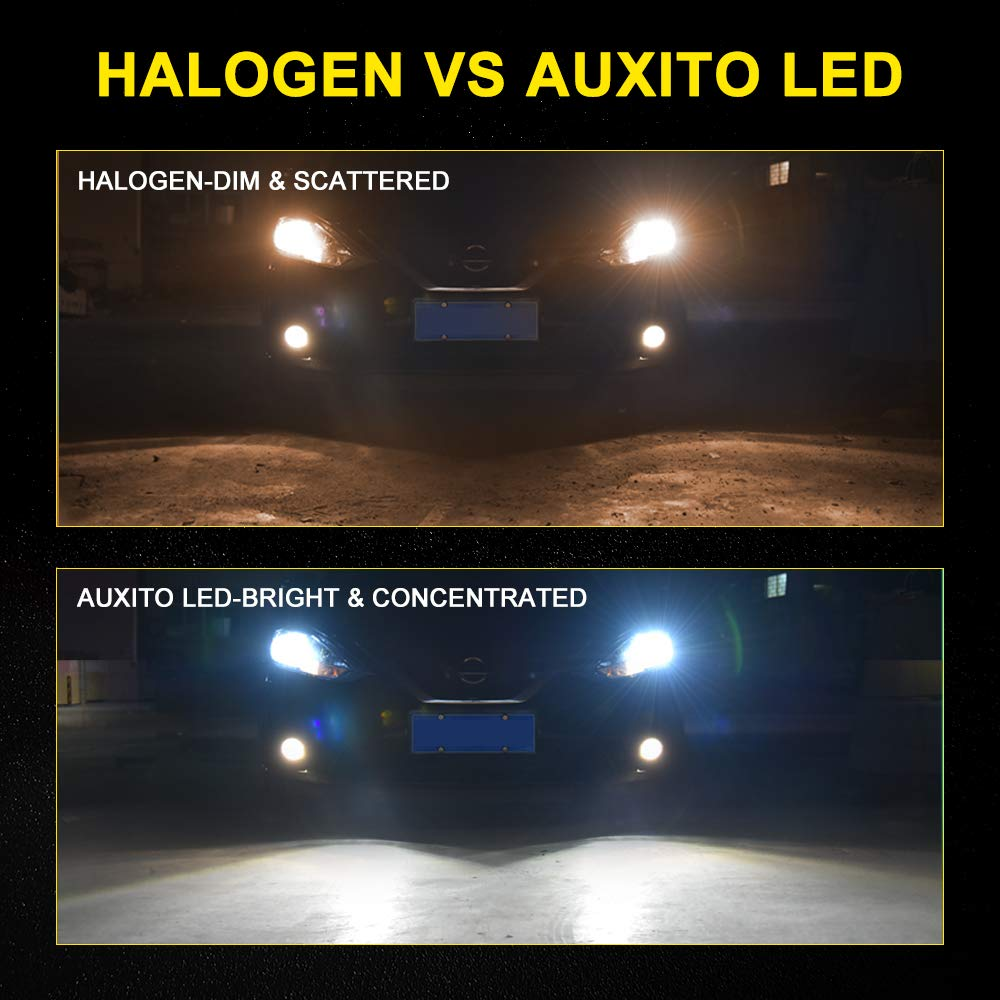 AUXITO H11 LED Headlight Bulb Fanless All-in-one 9000Lumens Extremely Bright 6500K Xenon White CSP Chips H8 H9 Mini Lamp Conversion Kit for Headlight Fog Lights-2 Years Warranty,Pack of 2