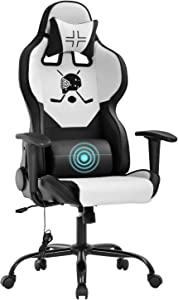 Gaming Chair Office Chair Desk Chair with Lumbar Support Headrest Armrest Task Rolling Swivel Massage PC E-Sports Racing Chair PU Leather Adjustable Ergonomic Computer Chair for Men(White)