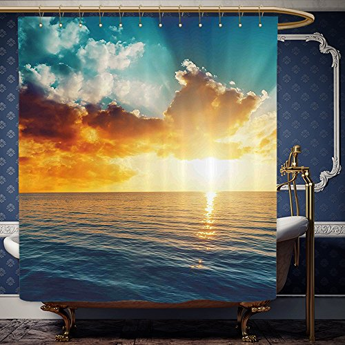 Wanranhome Custom-made shower curtain Sunset Exposure Magical Horizon Panorama over Ocean Dramatic Sky Dusk Serene Image Yellow Blue For Bathroom Decoration 69 x 72 inches