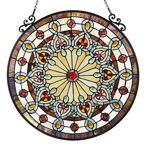 a, Tiffany-Glass Victorian Window Panel 23.5