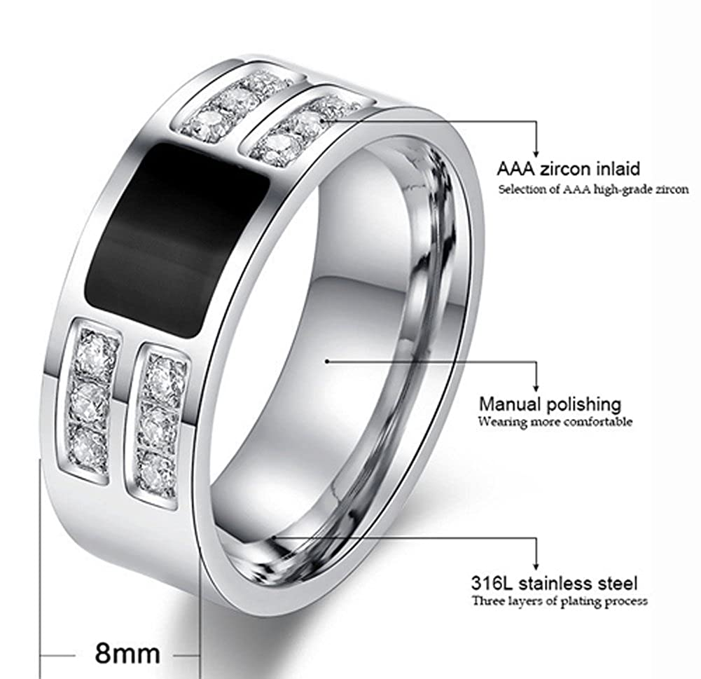 Richy-Glory Stainless Steel Beauty Crystal Mens Ring With CZ Stone