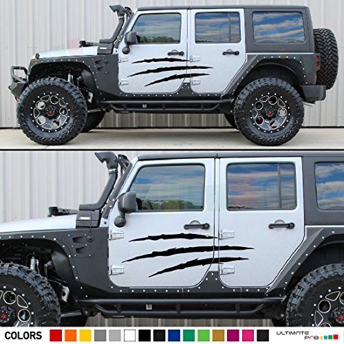 Amazon.com: 2x Door Claw Scratches Decal Sticker Graphic Compatible with Jeep  Wrangler JK Unlimited 2007-2016: Automotive