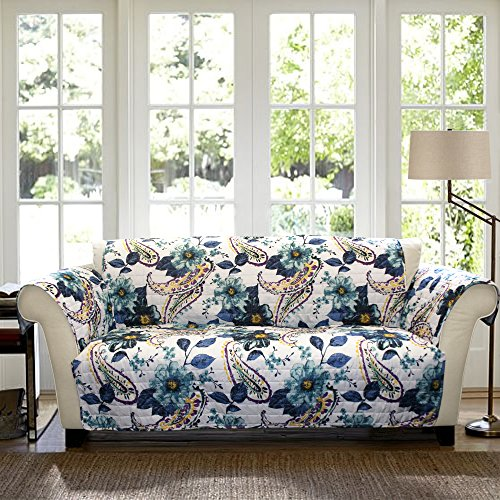 - Lush Decor Floral Paisley Slipcover/Furniture Protector for Sofa, Blue