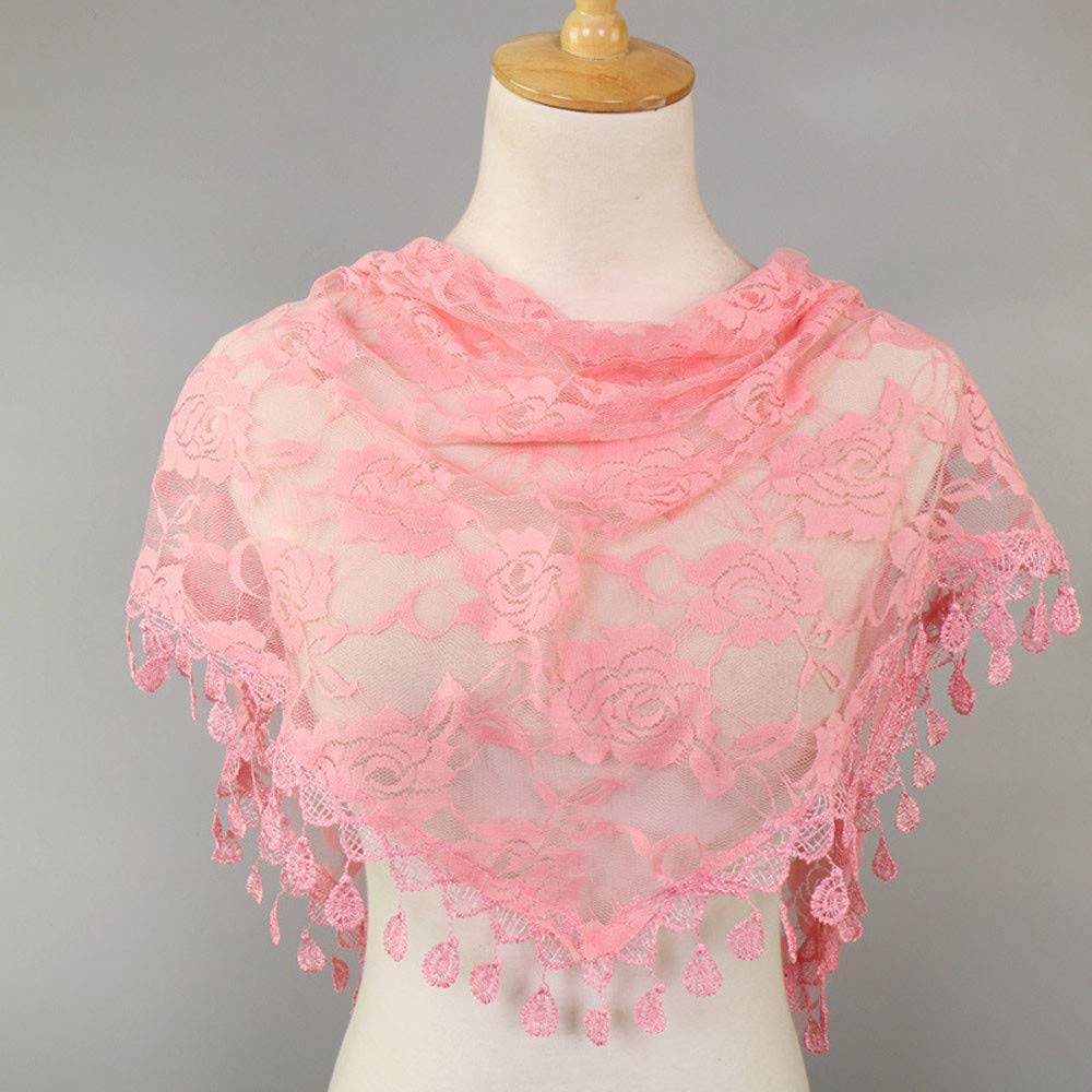 Clearance Sale!❄❄Women Clearance Lace Tassel Rose Floral Hollow Scarf Shawl Lady Wraps Scarves