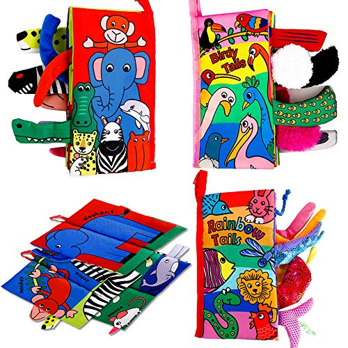 Here Fashion Pack of 3 Soft Animal Tails Cloth Books for Babies - Colorful Animals Stereoscopic Tails Cloth Books for Baby's Early Learning Education Book ( Birdy, Naughty Nose& Rainbow Tail ) (Jellycat Tails)