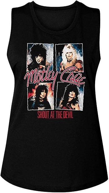 Motley Crue 1981 Heavy Metal Rock Band Crue Sign Black Ladies Muscle Tank Top