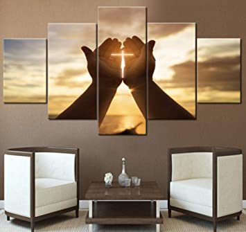 Libjia Wall Crosses Decor Jesus Hands Prayer Paintings Wall Art For Living Room Christian Pictures 5 Piece Canvas Modern Home Decor Amazon Co Uk Diy Tools