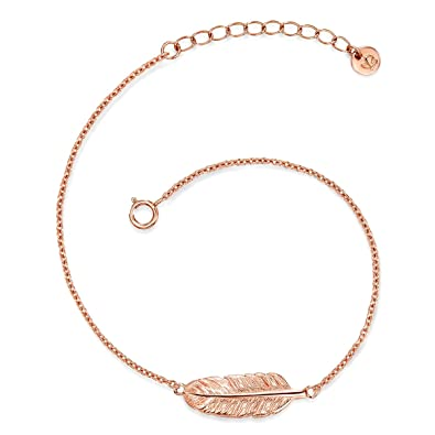 22bae96643fb27 Gloss Munich Women Feather Sterling Silver Rose Gold Plated Silver Bracelet  17.5 + 3.5 cm -