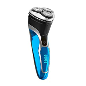 Electric Razor for Men, MAX-T 3D Waterproof IPX7 Wet & Dry USB Quick Rechargeable Rotary Electric Shaving Razors with Pop-up Trimmer