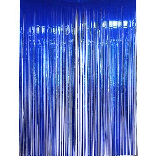 Blue Metallic Fringe (AZOWA Metallic Blue Foil Fringe Curtain Shiny Photo Background Party Decoration 6.6 ft X 9.8 ft)