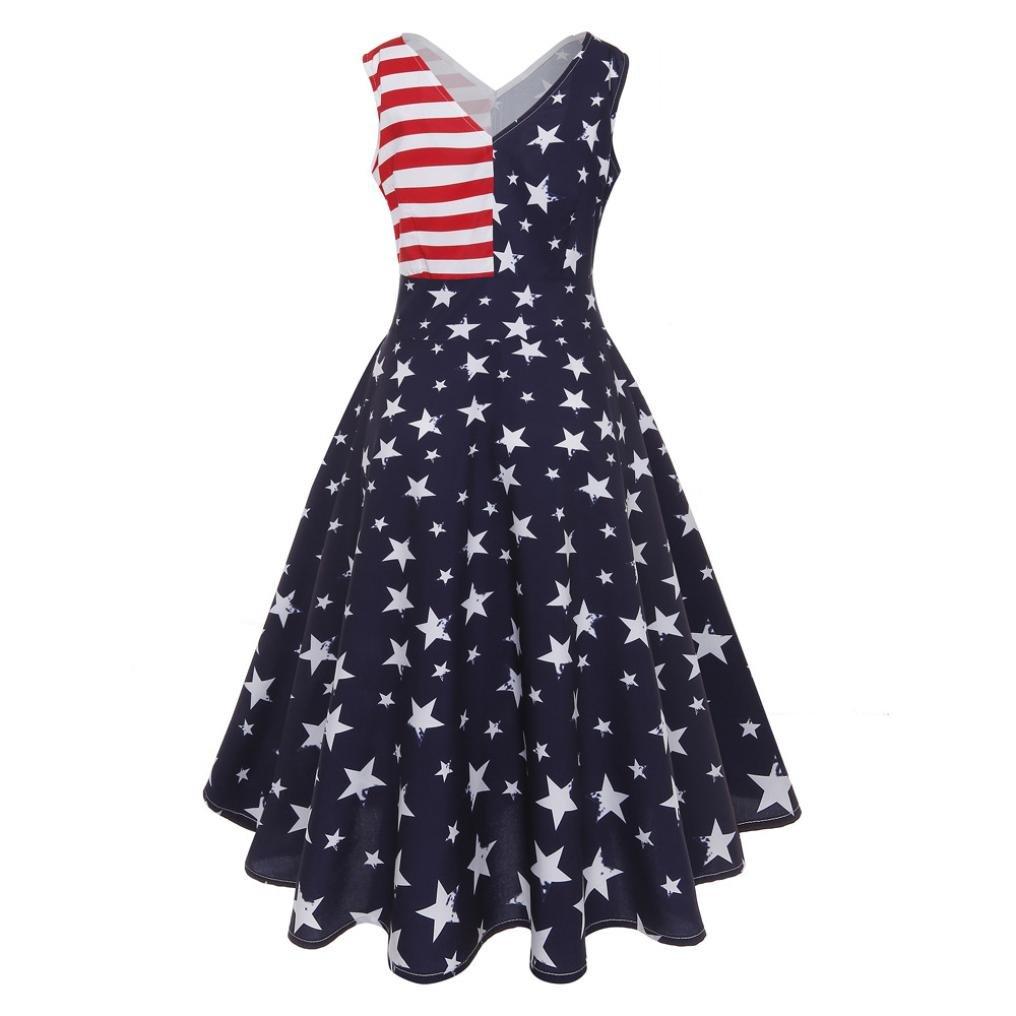 Pervobs Dress, Big Promotion! Women Vintage Sleeveless Flag Printing Casual V-Neck Evening Party Prom Swing Dress (XXL, Blue)
